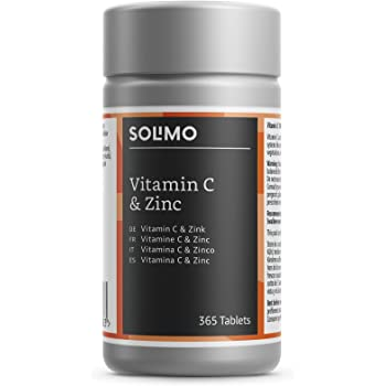 Marchio Amazon- Solimo Integratore alimentare di vitamina C 100 mg e zinco 15 mg, 365 compresse