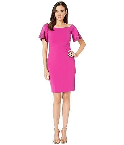 Calvin Klein Off Shoulder Sheath Dress with Embellished Sleeves (Jazzberry) Women