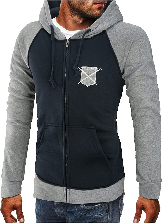 Men's Midweight Hooded Zip Front Sweatshirt, weatshirt Hipster Gym Long Sleeve Drawstring Hooded Pullover