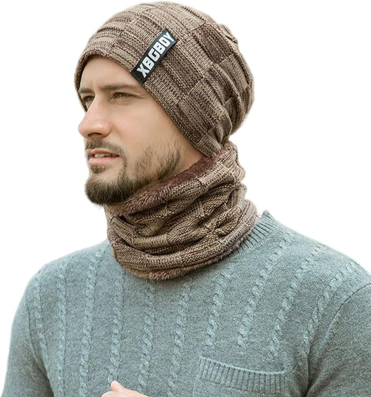 2 Pcs Beanie Hat Scarf Set Knit Skull Cap Men Winter Thick Neck Warmer