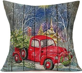 YANGYULU Hopyeer Xmas Vintage Wood Decoration Pillow Covers MerryChristmasWatercolor Red Truck Car Xmas Trees Retro Plan...