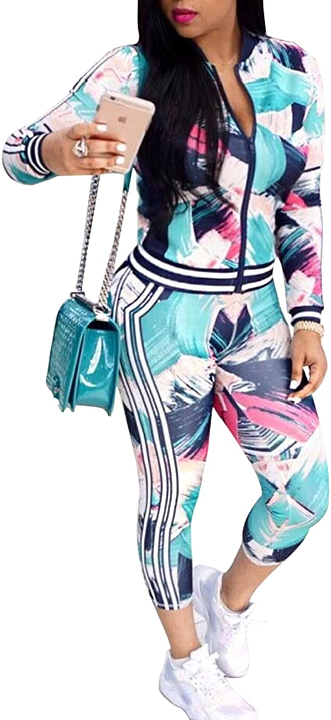 FOUNDO Women's Floral Tracksuit Jacket Pants Special Virginia Beach Mall price and Piece Sports 2