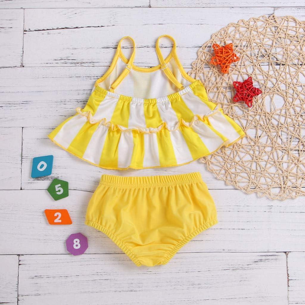 SSZZoo Toddler Kids Girl Swimsuit Stripe Strap Frill Swimwear Bathing Suit Two-Piece Set