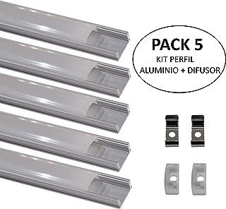 Pack 5x Perfil de Aluminio para Tira LED con Tapa Translucida. Tapones de los Extremos y clips de montaje Incluidos.…