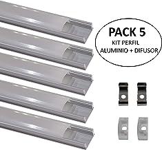Led Atomant 5 x1 metro de perfil de Aluminio para Tira de Led con Cubierta Blanca Lechosa, Tapones de Los Extremos y Clips de Montaje de Metal Incluidos, 5