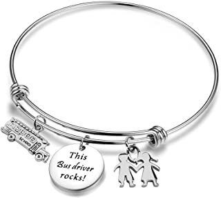 ENSIANTH Bus Driver Bracelet This Bus Driver Rocks Jewelry End of Year Gift with School Bus Charm