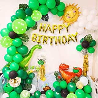 Jungle Dinosaur Birthday Party Decoration, Kid's Party Supplies Kit with Three Big Dinosaurs Balloon Happy Birthday Banner...