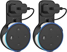 ProCase Amazon Echo Dot Wall Mount Outlet Hanger Clip for Dot 2nd Generation, No Messy Wires or Screws, Amazon Echo Dot 2nd Gen Wall Mount for Bathroom Bedroom Kitchens –Black, 2 Pack