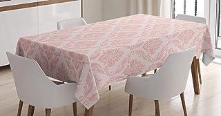 Lunarable Mantel de color rubor, diseño retro de damasco, con pétalos y ramas, para comedor o cocina, rectangular, 132 x 1...
