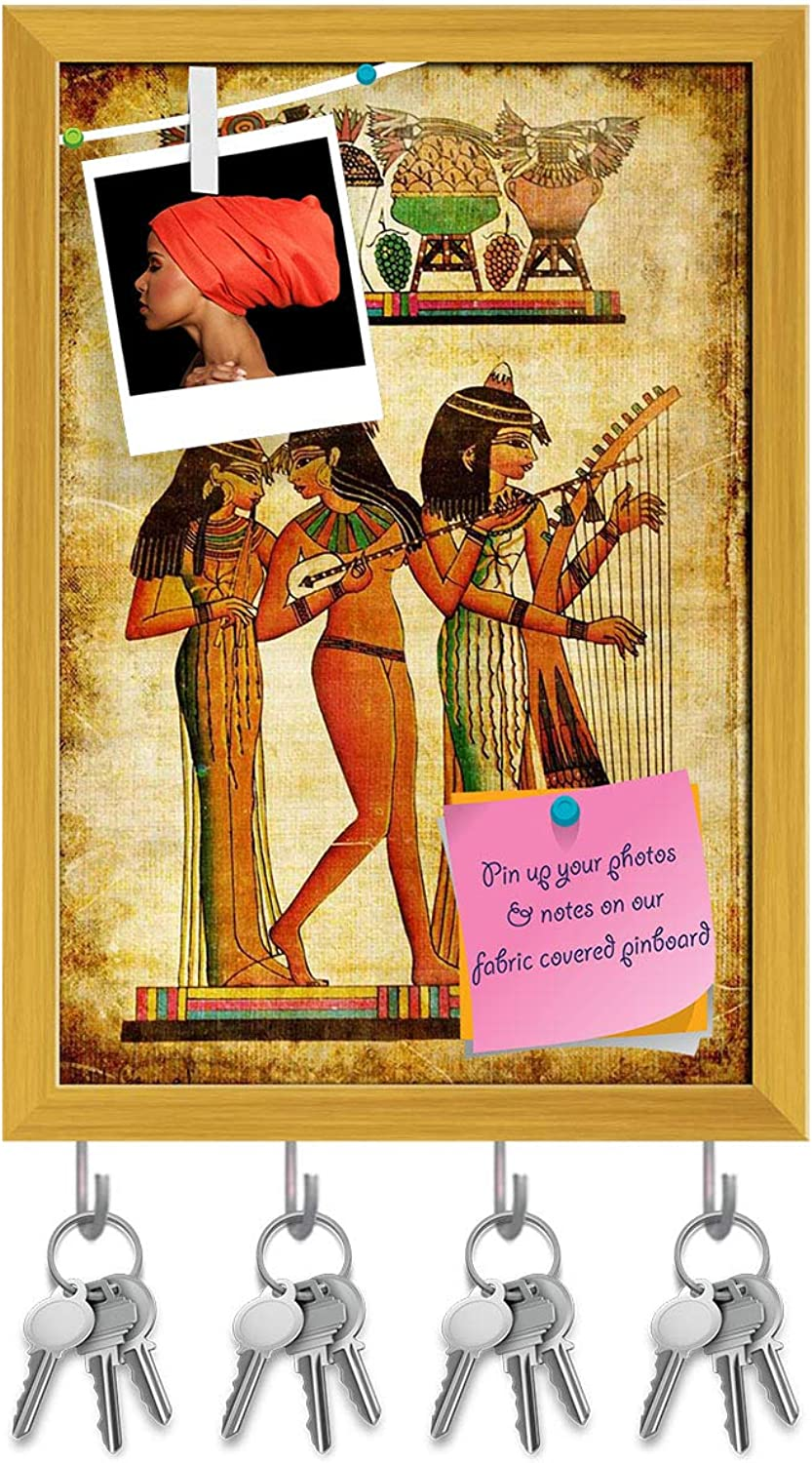 Artzfolio Old Egyptian Papyrus Key Holder Hooks   Notice Pin Board   golden Frame 10 X 14.2Inch