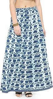 Geroo Women's Cotton Hand Block Print Indigo Skirt