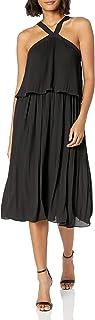 bebe Women's Sleeveless Halter Neck Dress with Pleated Popover