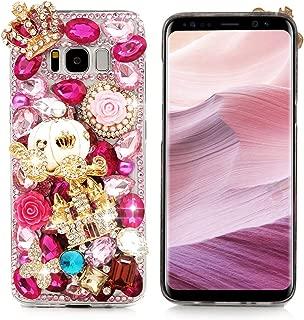 Mavis's Diary Compatible Samsung Galaxy S8 Case, 3D Handmade Bling Diamonds Gold Crown Castle White Pumpkin Car Shiny Sparkle Rhinestone Gems Crystal Clear Full Body Protection Hard PC Cover