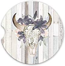 Western Boho Floral Bull Skull Sandstone Car Coasters Grey Barn Wood Background, Set of 2