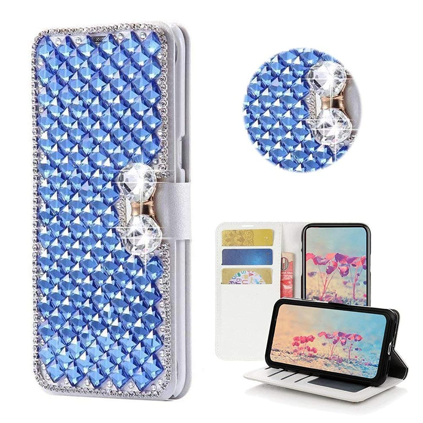 J7 2018/J7 Aero/J7 Aura/J7 Crown/J7 Top J737T/J7 Refine/J7 Eon/J7 Star Wallet case,Bling Diamond Bowknot Shiny Rhinestone PU Leather Card Slot Flip Cover Case for Girl Woman Lady (Blue)