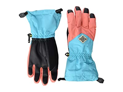 Burton Kids Profile Glove (Little Kid/Big Kid) (Georgia Peach/Blue Curacao) Extreme Cold Weather Gloves