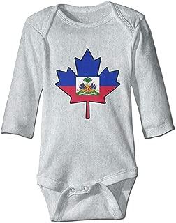 Baby Infant Toddler Romper Bodysuit Haitian Flag Canada Maple Leaf-1 Print Long Sleeve Jumpsuit Onesie