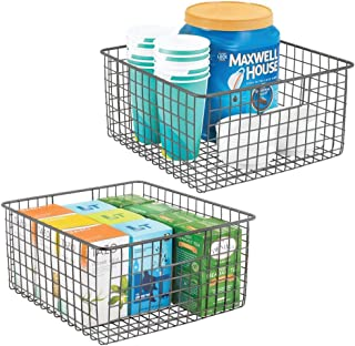 mDesign panier de rangement polyvalent (lot de 2) – boîte en métal pour la cuisine, le garde-manger, etc. – panier en méta...