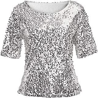 Women Sequin Sparkle Glitter Blouse Short Sleeve Top Shirt