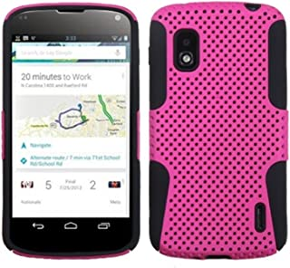 Asmyna ALGE960HPCAST005NP Astronoot Premium Hybrid Case with Durable Hard Plastic Faceplate for LG Nexus 4 E960 - 1 Pack - Retail Packaging - Hot Pink/Black