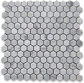 Carrara White Italian Carrera Marble Hexagon Mosaic Tile 1 inch Polished - Stone Center Online
