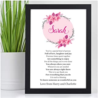 Personalised Birthday Poem Gifts for Her, Mum, Daughter, Nanny - Custom Birthday Gift Presents for Nanna, Granny, Auntie, Sister, Best Friends - Any Occasion, Any Names Poem Keepsake