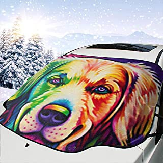 CHILL/¡/¤TEK Cat Universal Car Sunshade Snow Cover Frost Windshield Visor Waterproof Heat and Sun Prevention Snow Frozen Prevention All Year-Around Use Size 57.9x46.5 Inch