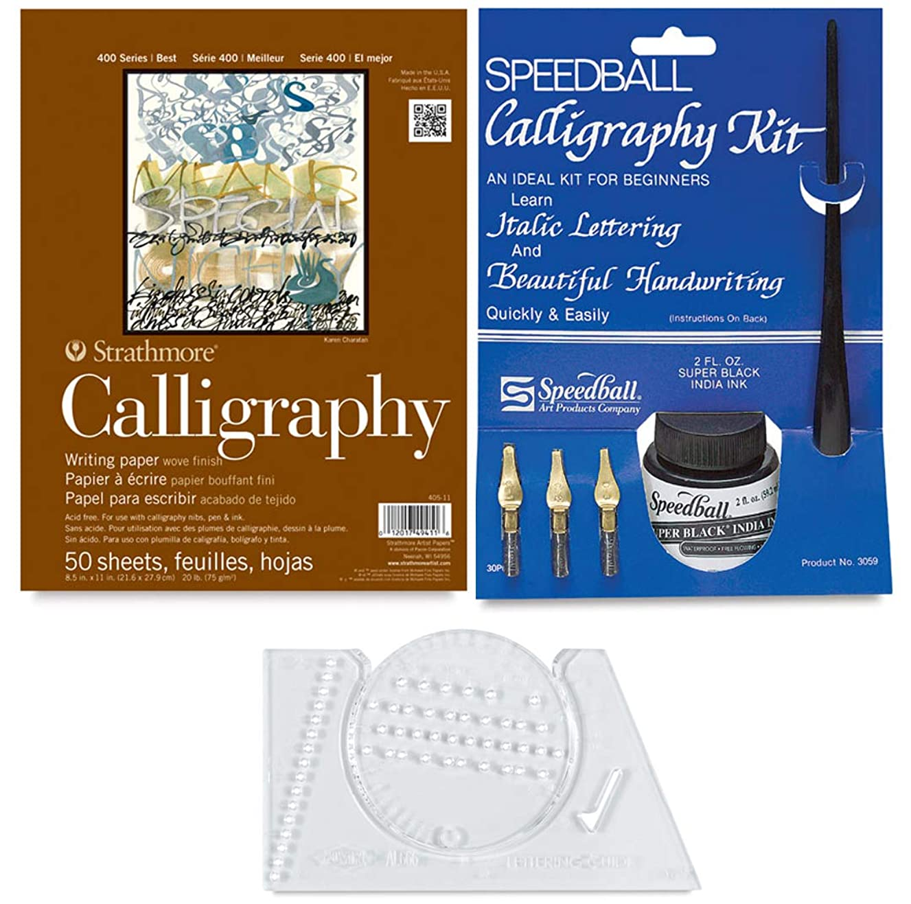 Ink Pad Lettering Guide & Calligraphy Pen Set Italic Cartridge Pen with Practice Instruction Step Book nibs & Paper pad 8.5 x11