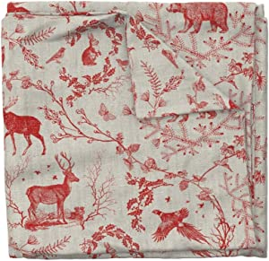 Roostery Duvet Cover, Toile Christmas Woodland Red and Print, 100% Cotton Sateen Duvet Cover, King