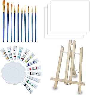 NIECHO Conjunto de pintura acrílica para crianças/iniciantes – Kit de 28 peças de tinta artística com mini cavalete de mes...