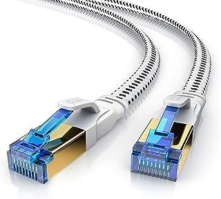 Primewire - Cat 8 - Cavo di Rete Piatto di Alta qualitá da 15 m - Mantello in Tessuto - 40 Gbits - Ethernet RJ45 - Categor...