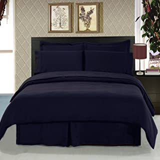 Royal Hotel's King size Solid Navy 300-Thread-Count 3pc Duvet-Cover-Sets and 1pc Siberian Goose Down Alternative Comforter 100 percent Cotton 100% Cotton