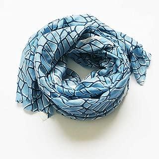 Rustic Loom Indigo Scarf- Branch Design- Hand Block Print- Silk Modal