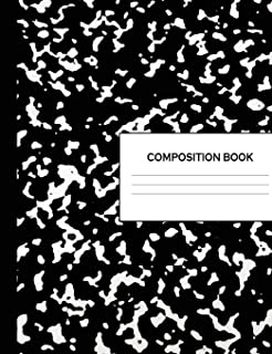 Composition Book: 300 Pages Black Marble Notebook Wide Ruled Lined Paper Writing Diary & Practice Journal Organizer for School & University: Note Book Pad: 7.44 x 9.69 Notepad (150 Sheets)