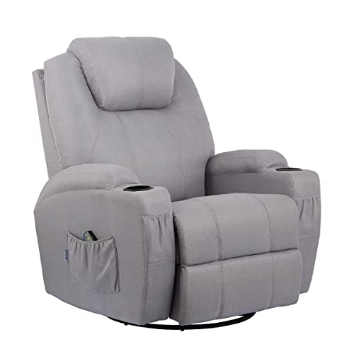 Superieur Esright Grey Fabric Massage Recliner Chair 360 Degree Swivel Heated  Ergonomic Lounge