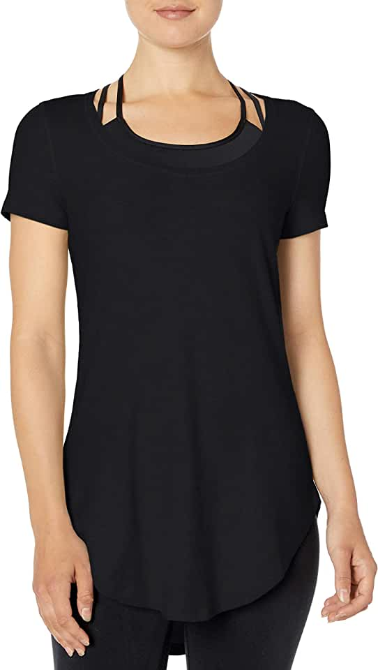 Amazon Brand - Core 10 Women's (XS-3X) Soft Pima Cotton Stretch Extra Long Yoga Tunic T-Shirt