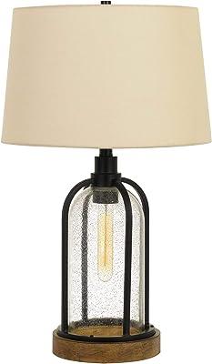 Cal Lighting BO-2840TB 100W Ciney Glass/Metal/Pine Table lamp with 25W Night Light (Edison Bulb Included), Black/Wood