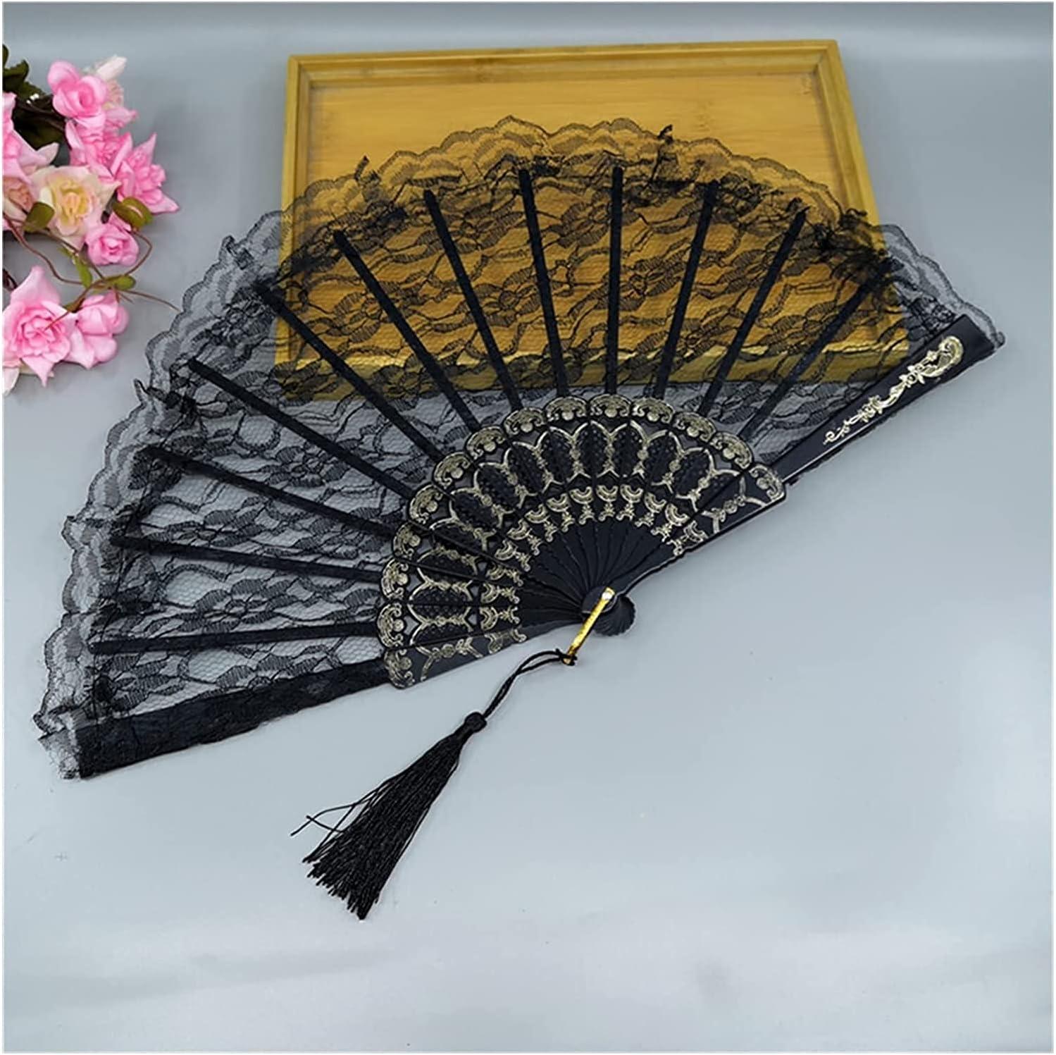 hermosa 23 cm de encaje delgado ventilador de plástico hueso a mano ventilador arte arte regalo lolita japonés dulce niña danza foto accesorios de la decoración de la decoración de la danza del partid