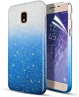 Lukey Case for Samsung Galaxy J7 2018,J7 Refine,J7 Star,J7 Aura,J7 Crown,J7 V J7V Phone Case W Screen Protector,[Ultar-Thin Slim] Glitter/Bling/Sparkly/Shiny Hybrid Protective Case,Blue