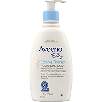 Aveeno Baby Eczema Therapy Moisturizing Cream, Natural Colloidal Oatmeal & Vitamin B5, Moisturizes & Relieves Dry, Itchy, Irritated Skin Due to Eczema, Paraben- & Steroid-Free, 12 fl. oz