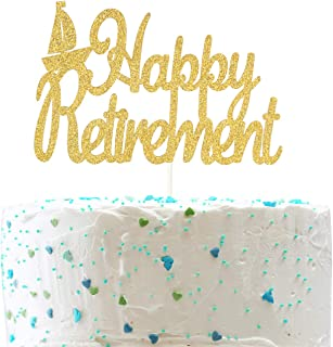 Happy Retirement Cake Topper,Farewell Sign Nautical Retirement Party Decorations (Double Sided Gold Glitter)