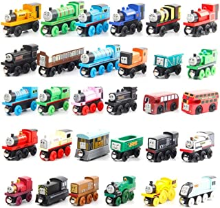 Tomaz wooden locomotive toy children locomotive toy rail car with magnet piece 30pcs set