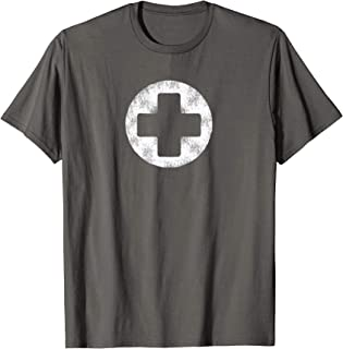 White Faux-Stone Cross Red Guard Life Tee Shirt Standard