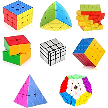 Toy Arena Deal Cubes Pack 2x2, 3x3, 4x4, 5x5, Silver Mirror, MasterMorphix, Pyramid & 3x3 MegaminxDifferent Shaped Puzzle Cube Combo Set Contains Speed-Cube