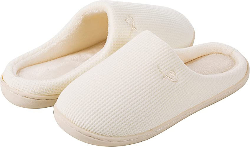 Women's Warm Soft Cozy Fleece Lining House Slippers Memory Foam Slippers Winter Bedroom Shoes Indoor Outdoor with Non-Slip Rubber Sole