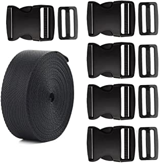 Coopay 2 Inch Plastic Buckles Kit Include 5 Pack Side Release Plastic Buckles,5 Pack Tri-Glide Slides with 5 Yards Black Nylon Webbing Strap