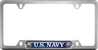USA Patriotic Anodized Aluminum Thin Top   Narrow Top Car License Plate Frame with US Navy Department Insert with Free caps - Silver