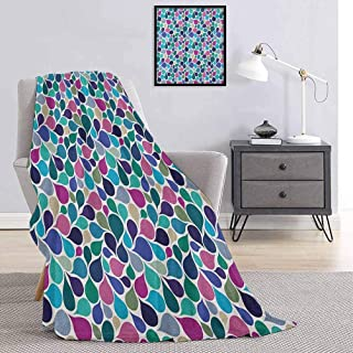 Abstract Plush Blanket Artistic Digital Raindrops Stylized Cute Leafage Creative Contemporary Style Print Super Soft Brush...