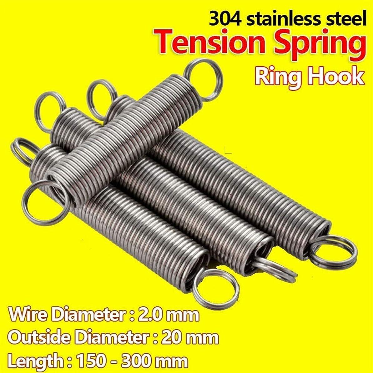 メリーパリティ決してスプリングス リングフック304ステンレス鋼のテンション春拡張コイルスプリングプルバックばね線径2.0ミリメートル外径20ミリメートル 圧縮ばね (Size : 200mm (1Pcs))