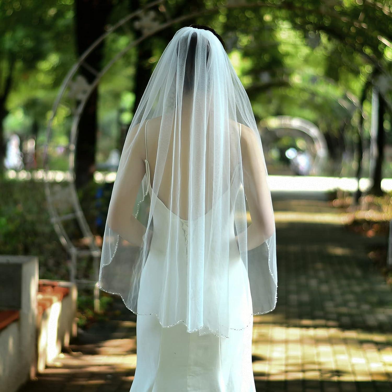 ULAPAN 1-Tier Wedding Veil Short Bride Hair Accessoies Bridal Tulle with Comb